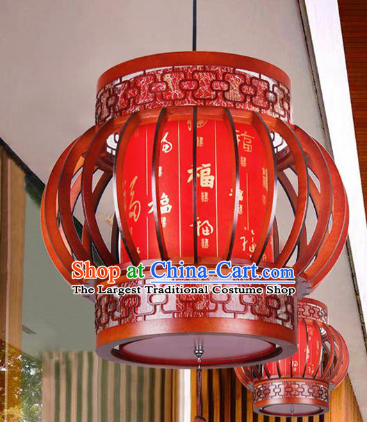Chinese Traditional New Year Wood Palace Lantern Handmade Hanging Lanterns Ceiling Lamp