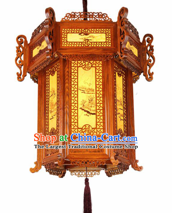 Chinese Traditional Handmade Wood Carving Palace Lantern Hanging Lanterns Ceiling Lamp