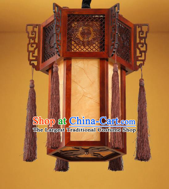 Chinese Traditional Handmade Wood Sheepskin Palace Lantern Hanging Lanterns Ceiling Lamp