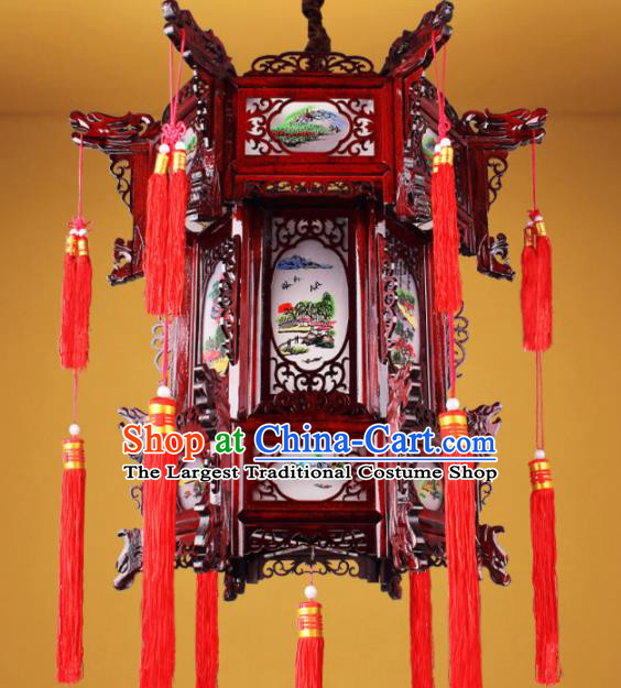 Chinese Traditional Handmade Wood Carving Palace Lantern Classical Hanging Lanterns Ceiling Lamp