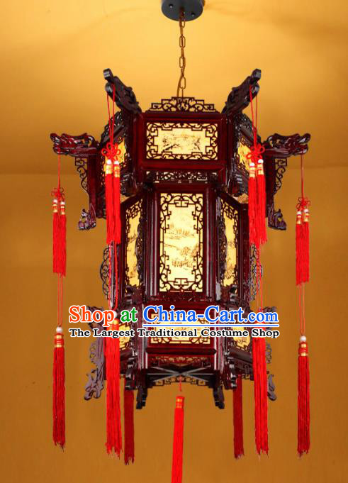 Chinese Traditional Handmade Red Tassel Wood Carving Palace Lantern Classical Hanging Lanterns Ceiling Lamp