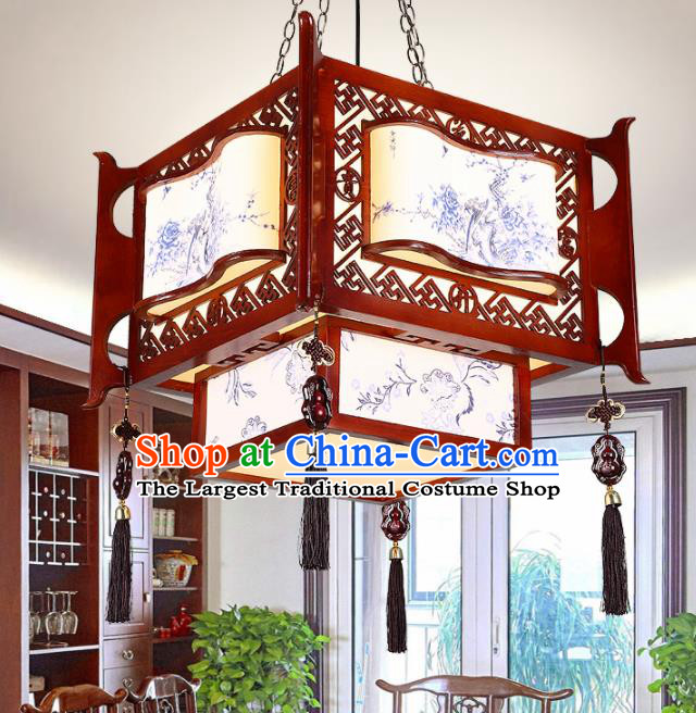 Chinese Traditional Handmade Printing Wood Carving Palace Lantern Classical Hanging Lanterns Ceiling Lamp