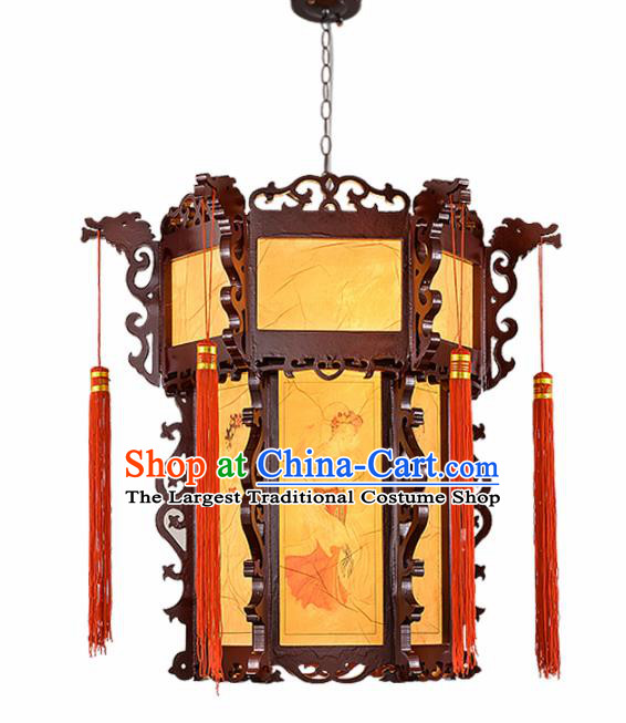 Chinese Traditional Handmade Sheepskin Wood Carving Palace Lantern Classical Hanging Lanterns Ceiling Lamp