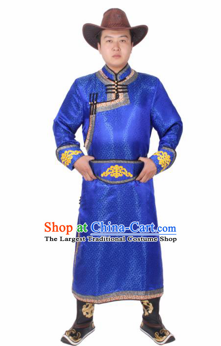 Chinese Ethnic Prince Costume Royalblue Mongolian Robe Traditional Mongol Nationality Folk Dance Clothing for Men