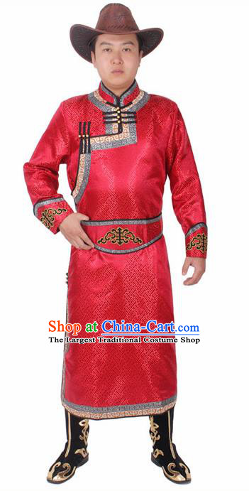 Chinese Ethnic Prince Costume Red Mongolian Robe Traditional Mongol Nationality Folk Dance Clothing for Men