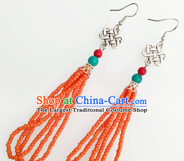 Traditional Chinese Mongol Nationality Orange Beads Ear Accessories Mongolian Ethnic Folk Dance Earrings for Women