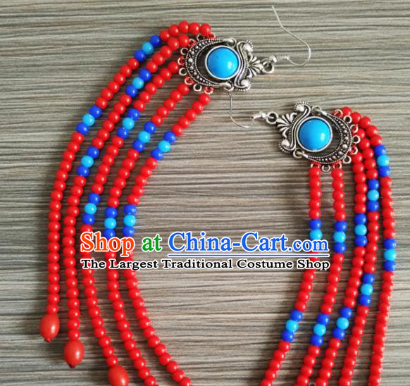 Traditional Chinese Mongol Nationality Red Beads Ear Accessories Mongolian Ethnic Folk Dance Earrings for Women