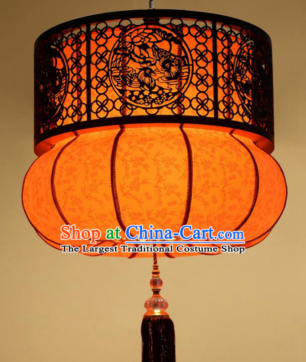 Chinese Traditional Handmade Wood Carving Pumpkin Palace Lantern Classical Hanging Lanterns Ceiling Lamp