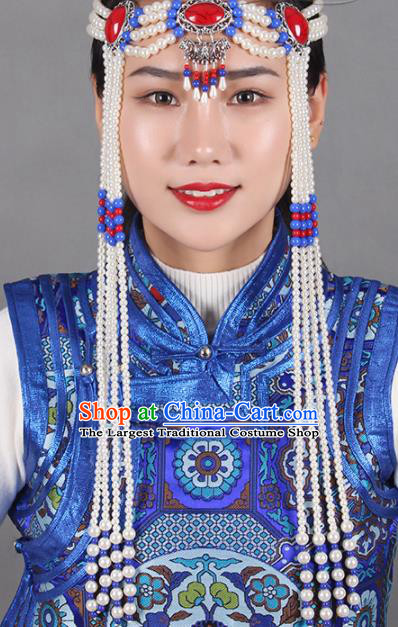 Chinese Mongolian Ethnic Tassel Hair Accessories Traditional Mongol Nationality Folk Dance White Beads Headband for Kids