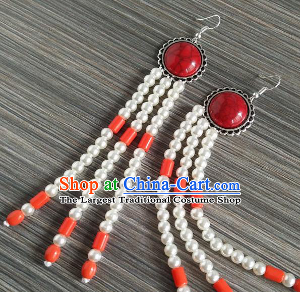 Traditional Chinese Mongol Nationality Orange Ear Accessories Mongolian Ethnic Folk Dance Earrings for Women