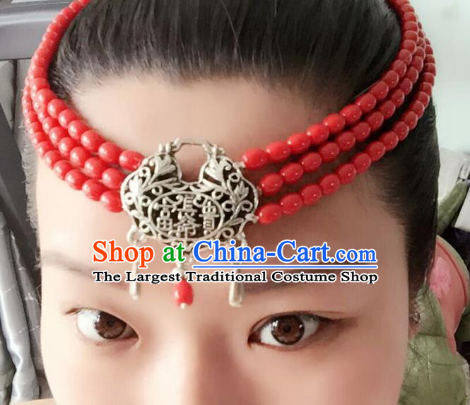 Chinese Mongolian Ethnic Tassel Hair Accessories Traditional Mongol Nationality Folk Dance Headband for Kids