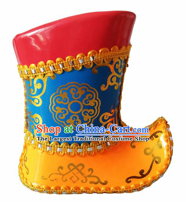 Chinese Mongolian Ethnic Boots Traditional Mongol Nationality Leather Shoes for Kids