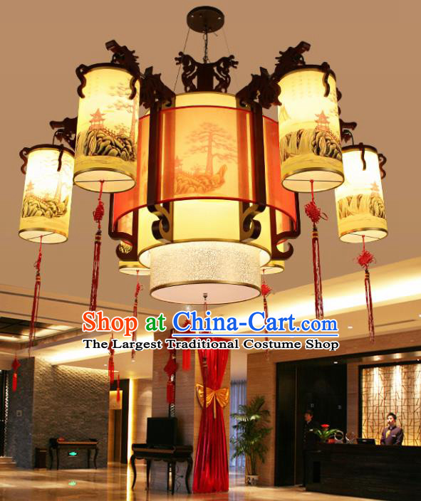 Chinese Traditional Six Lights Ceiling Palace Lantern Handmade New Year Classical Lanterns Hanging Lamp