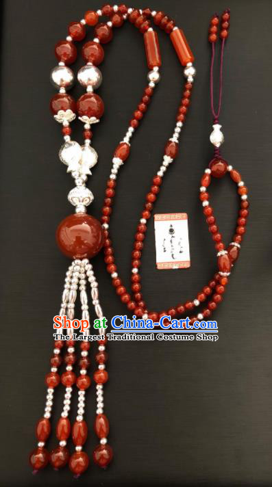 Traditional Chinese Mongol Nationality Necklet Accessories Mongolian Ethnic Agate Beads Necklace for Women