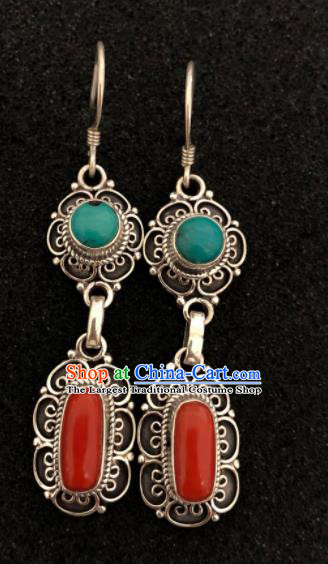 Traditional Chinese Mongol Nationality Red Ear Accessories Mongolian Ethnic Earrings for Women