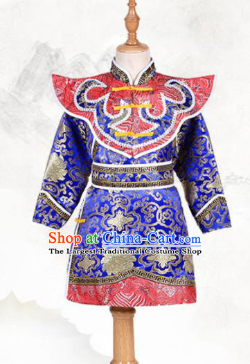 Chinese Ethnic Costume Royalblue Brocade Robe Traditional Mongol Nationality Folk Dance Clothing for Kids
