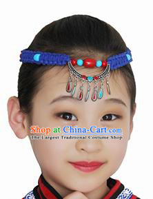 Chinese Mongolian Ethnic Hair Accessories Traditional Mongol Nationality Folk Dance Blue Headband for Kids