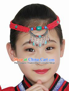 Chinese Mongolian Ethnic Hair Accessories Traditional Mongol Nationality Folk Dance Red Headband for Kids