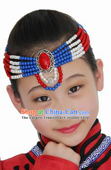 Chinese Mongolian Ethnic Beads Hair Accessories Traditional Mongol Nationality Folk Dance Headband for Kids