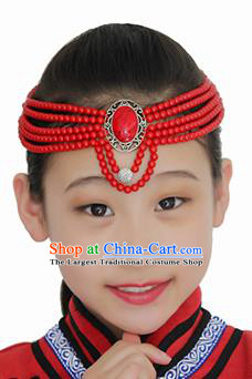 Chinese Mongolian Ethnic Red Beads Hair Accessories Traditional Mongol Nationality Folk Dance Headband for Kids