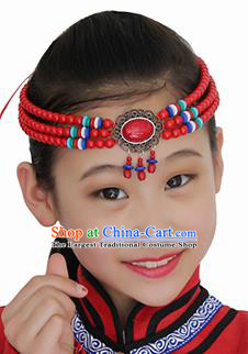 Chinese Mongolian Ethnic Red Beads Tassel Hair Accessories Traditional Mongol Nationality Folk Dance Headband for Kids