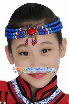 Chinese Mongolian Ethnic Blue Beads Tassel Hair Accessories Traditional Mongol Nationality Folk Dance Headband for Kids