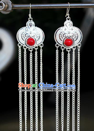 Chinese Mongolian Ethnic Red Bead Ear Accessories Traditional Mongol Nationality Folk Dance Earrings for Women