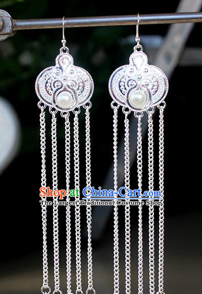 Chinese Mongolian Ethnic White Bead Ear Accessories Traditional Mongol Nationality Folk Dance Earrings for Women