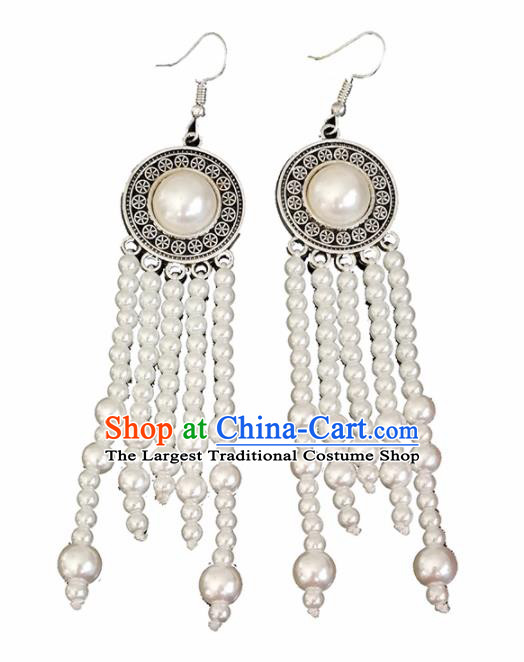 Chinese Mongolian Ethnic Ear Accessories Traditional Mongol Nationality White Beads Tassel Earrings for Women