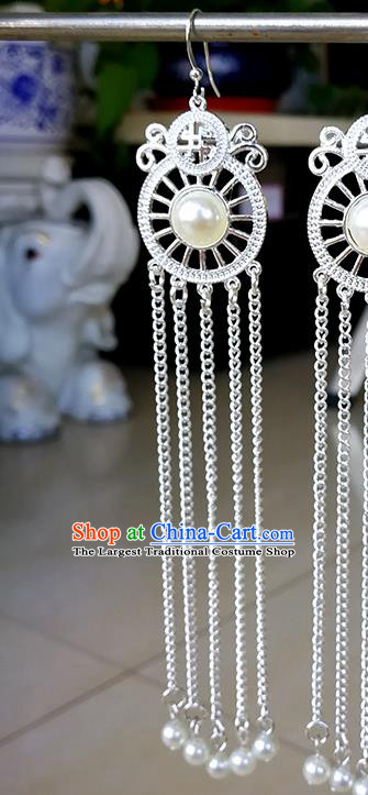 Traditional Chinese Mongolian Ethnic White Beads Ear Accessories Mongol Nationality Earrings for Women