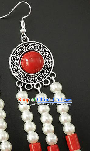 Traditional Chinese Mongolian Ethnic Folk Dance Ear Accessories Mongol Nationality Red Earrings for Women