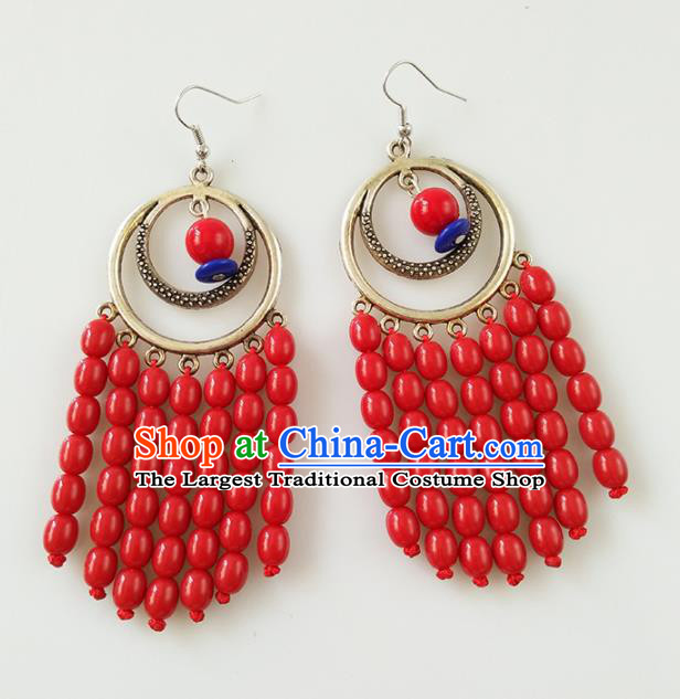 Traditional Chinese Mongolian Ethnic Folk Dance Ear Accessories Mongol Nationality Red Beads Earrings for Women