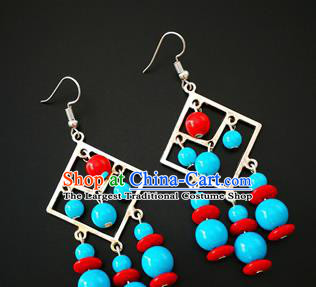 Traditional Chinese Mongolian Ethnic Folk Dance Ear Accessories Mongol Nationality Earrings for Women