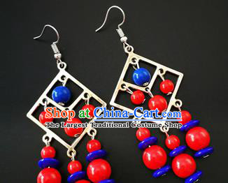 Traditional Chinese Mongolian Ethnic Beads Ear Accessories Mongol Nationality Folk Dance Earrings for Women