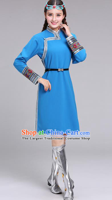 Chinese Mongolian Ethnic Costume Blue Dress Traditional Mongol Nationality Folk Dance Clothing for Women