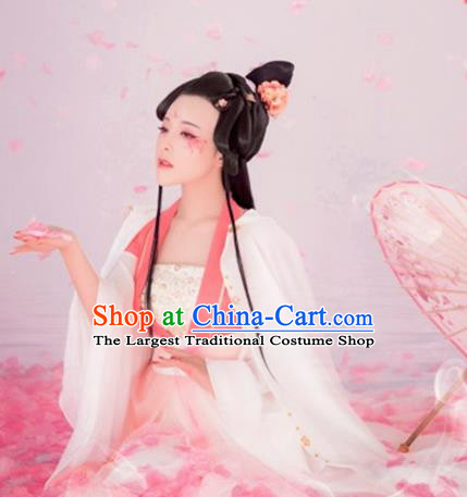 Chinese Ancient Flowers Goddess Hanfu Dress Traditional Tang Dynasty Imperial Consort Historical Costume for Women