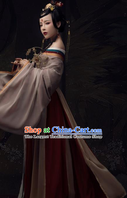 Chinese Ancient Imperial Concubine Hanfu Dress Traditional Tang Dynasty Imperial Consort Historical Costume for Women