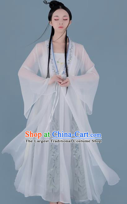 Chinese Ancient Swordswoman Peri Hanfu Dress Traditional Song Dynasty Court Lady Historical Costume for Women
