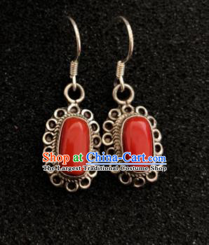 Traditional Chinese Mongol Nationality Red Stone Sliver Ear Accessories Mongolian Ethnic Earrings for Women