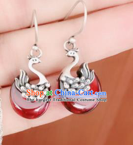 Traditional Chinese Mongol Nationality Red Swan Ear Accessories Mongolian Ethnic Sliver Earrings for Women