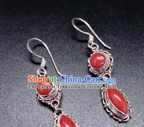 Traditional Chinese Mongol Nationality Red Ear Accessories Mongolian Ethnic Sliver Earrings for Women