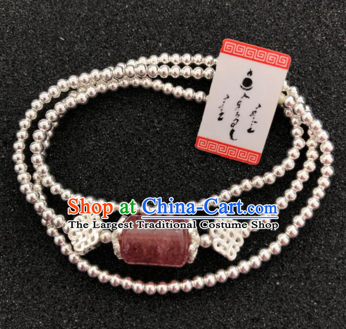 Traditional Chinese Mongol Nationality Rose Chalcedony Sliver Necklet Accessories Mongolian Ethnic Necklace for Women