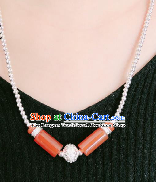 Traditional Chinese Mongol Nationality Sliver Necklet Accessories Mongolian Ethnic Red Agate Necklace for Women
