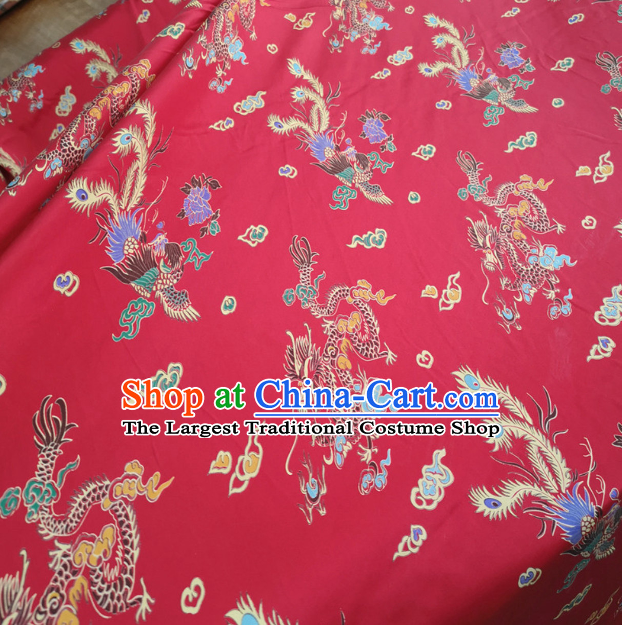 100% Pure Silk Dragon Phoenix Pattern Fabric