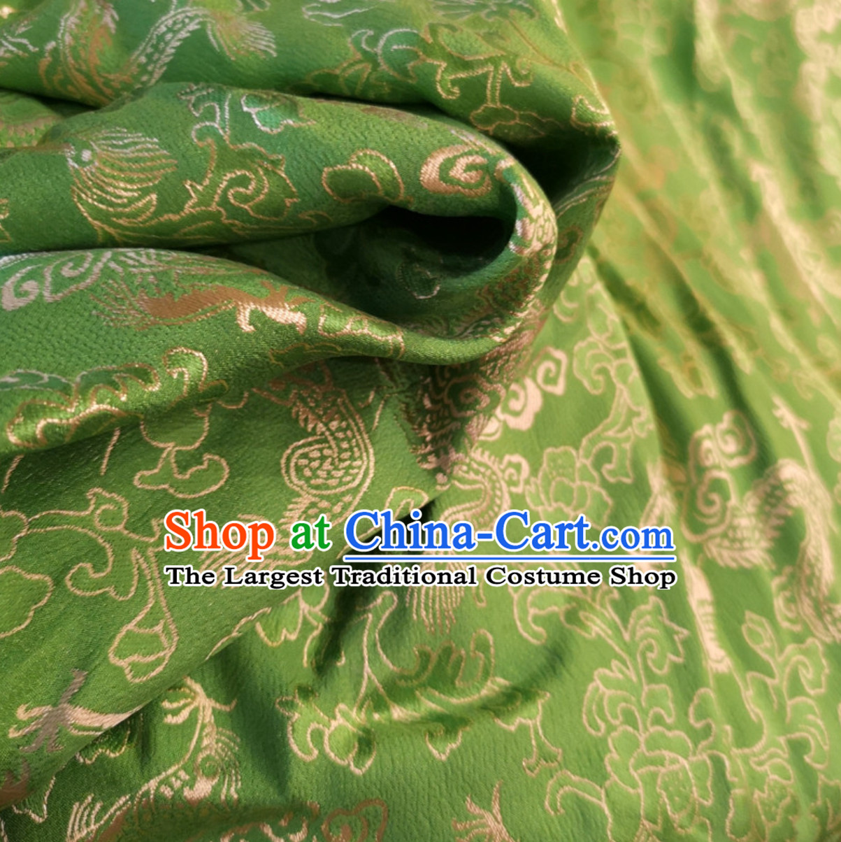 Green 100% Pure Silk Dragon Phoenix Pattern Fabric Chinese Royal Silk Fabrics