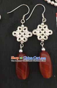 Chinese Mongol Nationality Red Agate Ear Accessories Traditional Mongolian Ethnic Earrings for Women