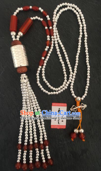 Chinese Mongol Nationality Sliver Beads Necklet Accessories Traditional Mongolian Ethnic Necklace for Women
