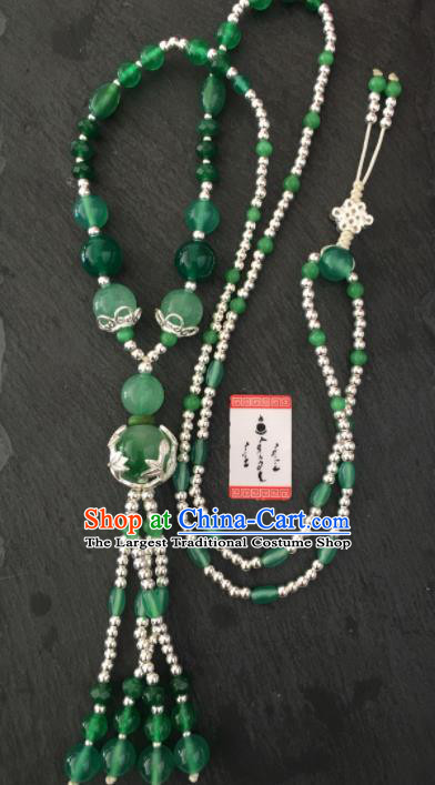 Chinese Mongol Nationality Green Chalcedony Tassel Necklet Accessories Traditional Mongolian Ethnic Necklace for Women