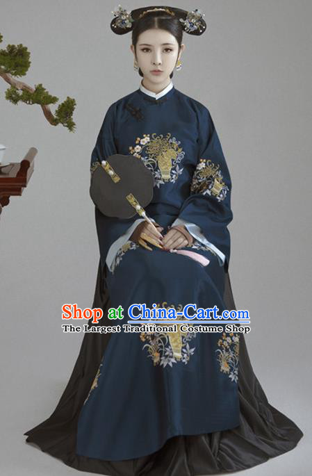 Chinese Ancient Court Empress Hanfu Dress Traditional Qing Dynasty Manchu Queen Historical Costume for Women