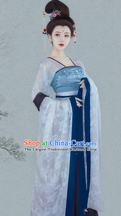 Chinese Ancient Peri Goddess Hanfu Dress Traditional Tang Dynasty Imperial Consort Historical Costume for Women